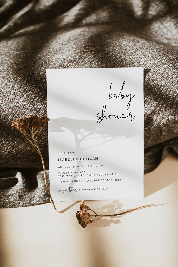 Adella -  Modern Minimalist Baby Shower Invitation Template - Unmeasured Events