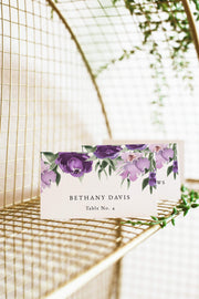 Lilah - Purple Floral Wedding Place Card Template - Unmeasured Events