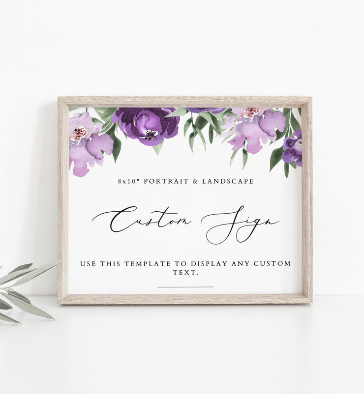 "Copy of Lilah - Purple Floral 8x10"" Custom Sign Template - Unmeasured Events"