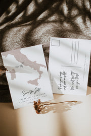 Quinn - Rose Gold Italy Map Save the Date Postcard Template - Unmeasured Events