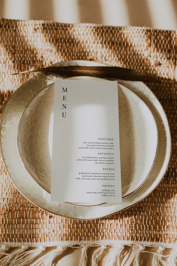 Harper - Minimalist Clean Wedding Menu Template - Unmeasured Events