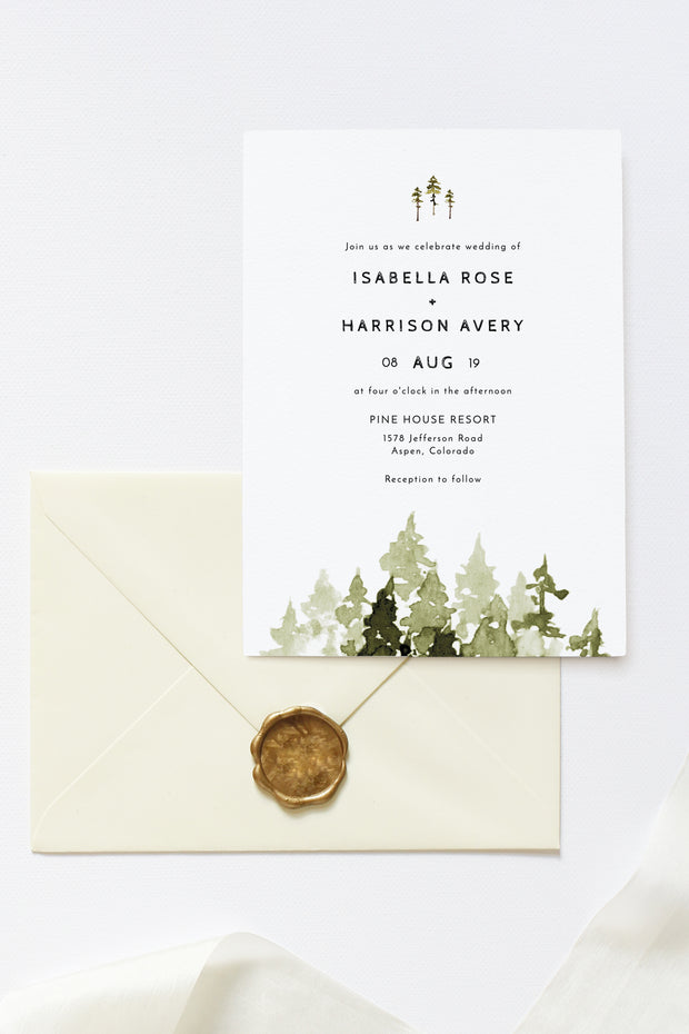 Jenna - Rustic Pine Tree Wedding Invitation Template Suite