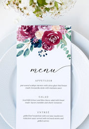 Bella - Burgundy Floral Wedding Menu Template - Unmeasured Events
