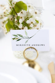 Isabella - Minimal Greenery Wedding Place Card Template - Unmeasured Events