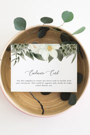 Cara - White Magnolia and Succulent Wedding Enclosure Card Template - Unmeasured Events