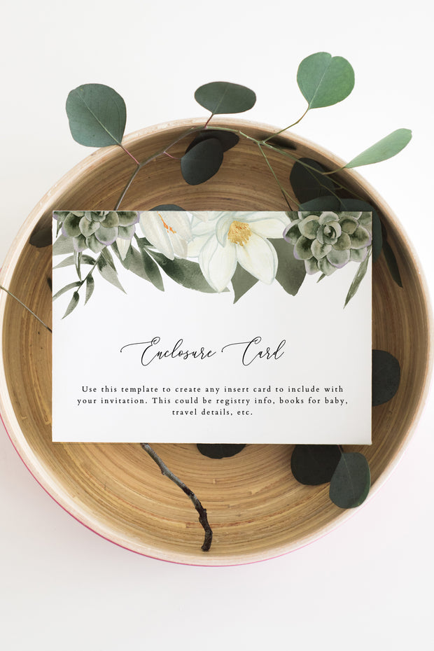 Cara - White Magnolia and Succulent Wedding Enclosure Card Template