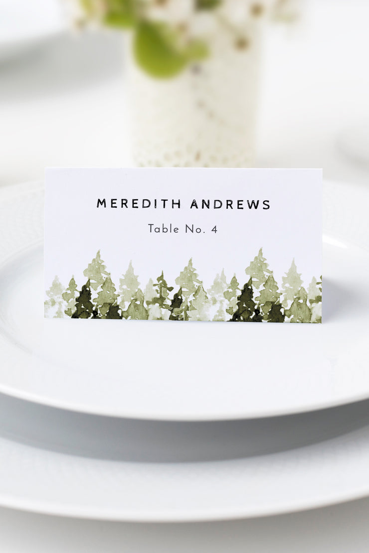 Jenna - Rustic Pine Tree Wedding Place Card Template - Unmeasured Events
