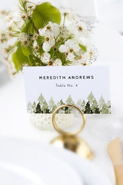 Jenna - Rustic Pine Tree Wedding Place Card Template