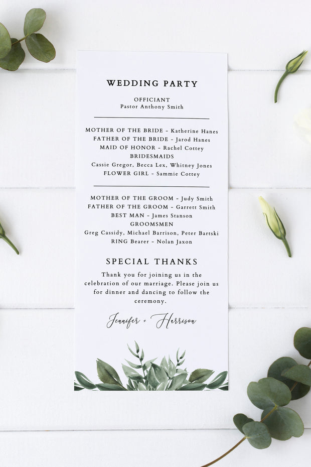 Lana - Modern Greenery Wedding Program Template - Unmeasured Events