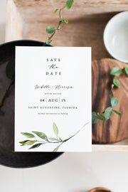 Isabella - Minimal Greenery Wedding Save the Date Template