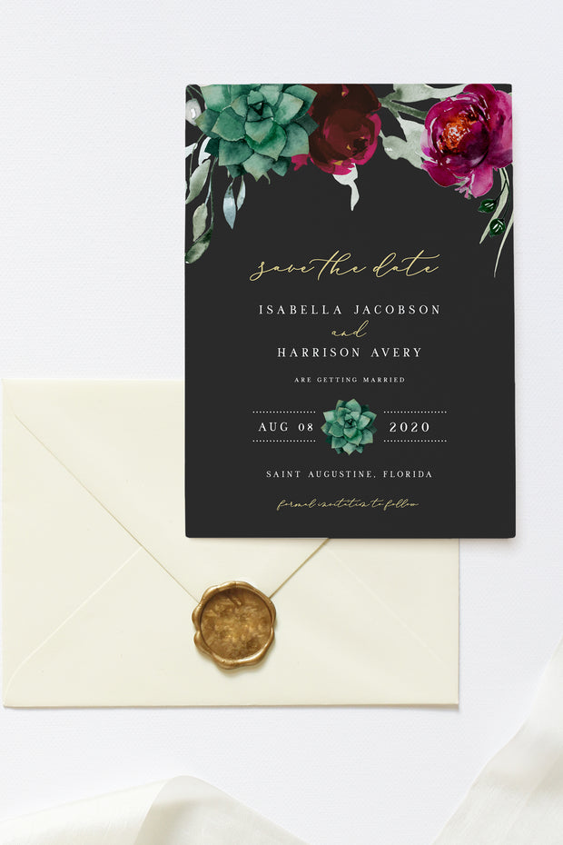 Amy - Burgundy Floral and Succulent Save the Date Template - Unmeasured Events