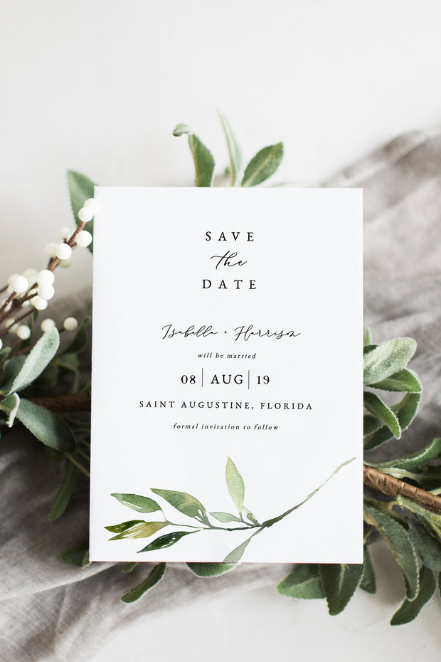 Isabella - Minimal Greenery Wedding Save the Date Template - Unmeasured Events