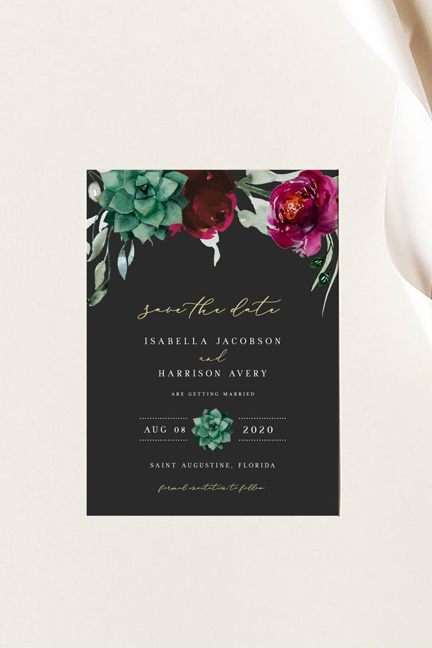 Amy - Burgundy Floral and Succulent Save the Date Template