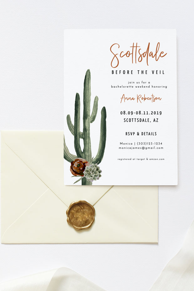 Eleanor - Bohemian Cactus Scottsdale Bachelorette Invitation & Itinerary Template