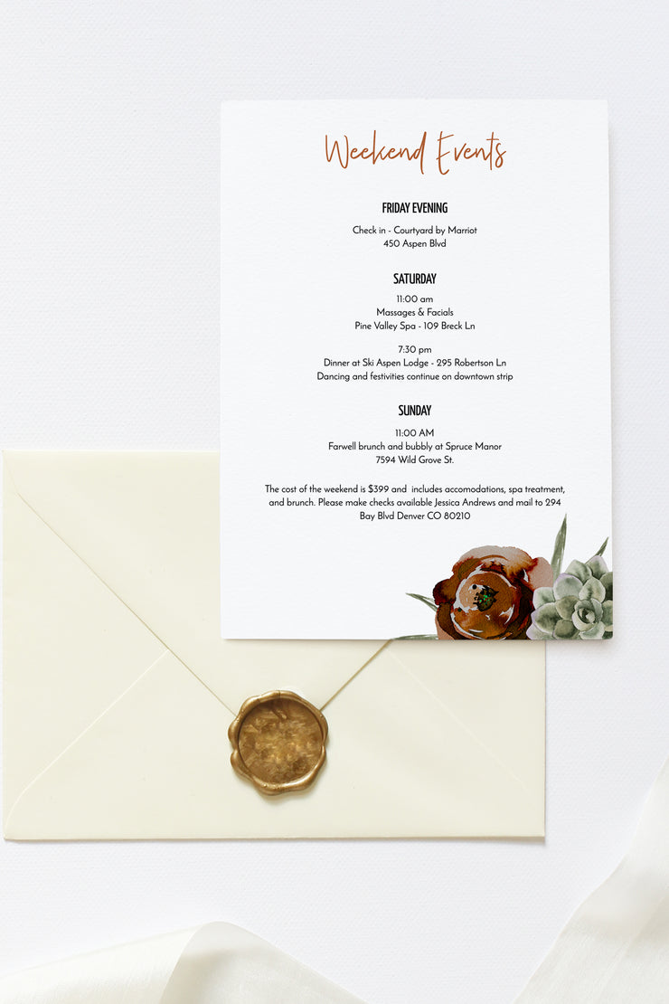 Eleanor - Bohemian Cactus Scottsdale Bachelorette Invitation & Itinerary Template - Unmeasured Events