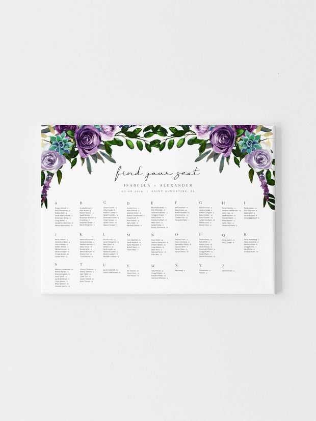 Olivia - Purple Floral and Succulent Alphabetical Seating Chart Template - Unmeasured Events