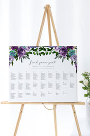 Olivia - Purple Floral and Succulent Alphabetical Seating Chart Template