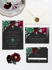 Amy Burgundy Floral and Succulent Wedding Invitation Template Suite