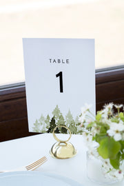 Jenna - Rustic Pine Tree Wedding Table Number Template - Unmeasured Events