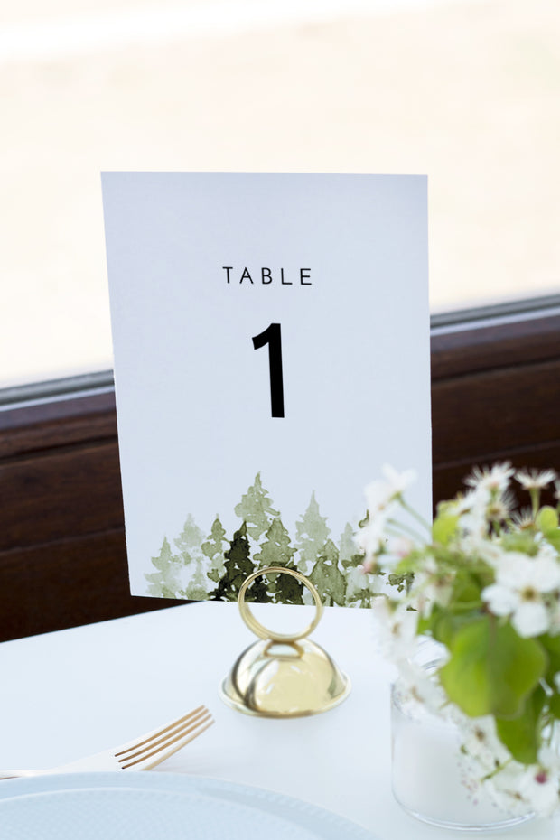 Jenna - Rustic Pine Tree Wedding Table Number Template