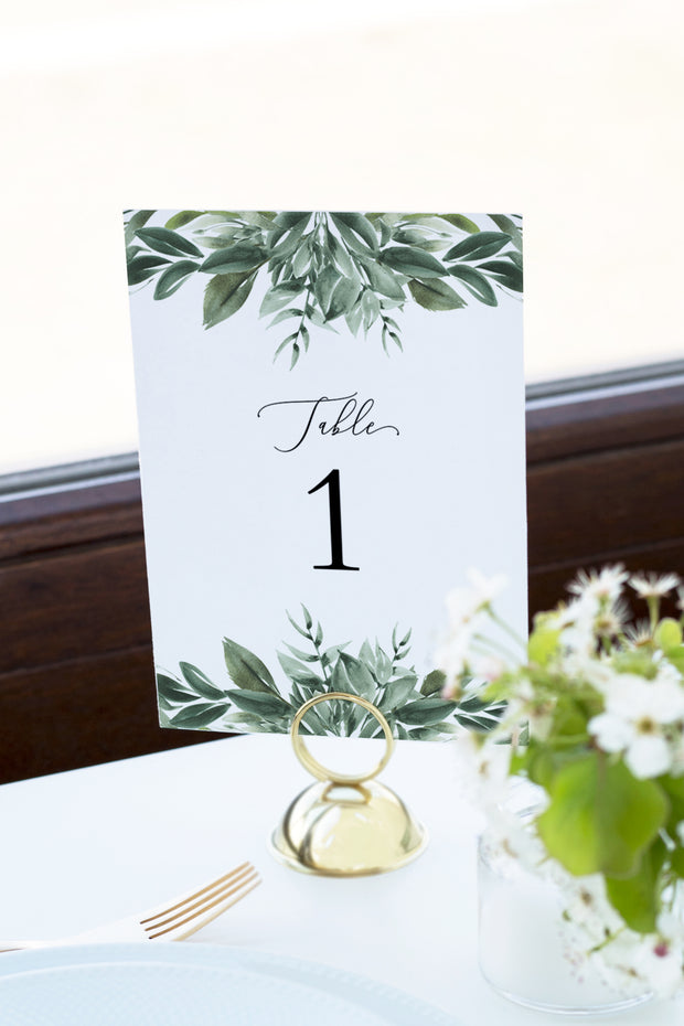 Lana - Modern Greenery Table Numbers Template - Unmeasured Events
