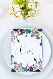 Olivia - Purple Floral and Succulent Table Number Template - Unmeasured Events