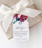 Bella - Marsala Floral Wedding Favor Tag Template - Unmeasured Events