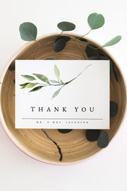 Isabella - Minimal Greenery Thank You Card Template - Unmeasured Events