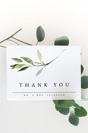 Isabella - Minimal Greenery Thank You Card Template