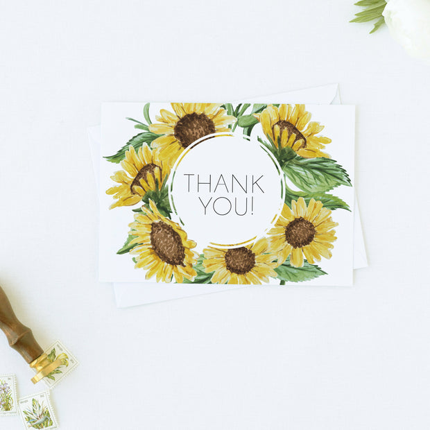 Emma - Rustic Sunflower Wedding Thank You Card Template - Unmeasured Events