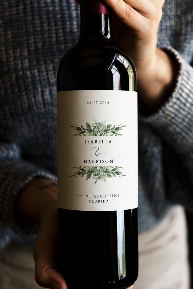 Lana - Greenery Wine Label Template