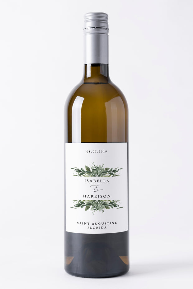 Lana - Modern Greenery Wine Label Template - Unmeasured Events