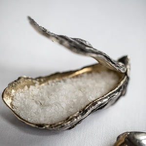 Silver Oyster Shell Sea Salt Cellar