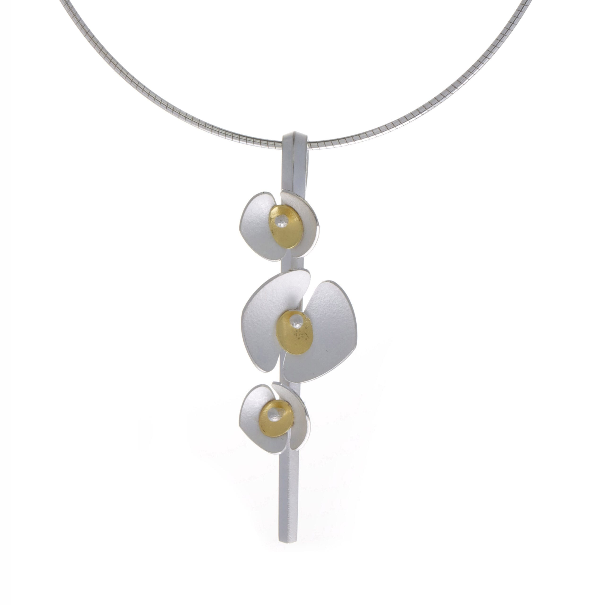 Design Yard 22k Yellow Gold Three Orchid Sterling Silver Necklace