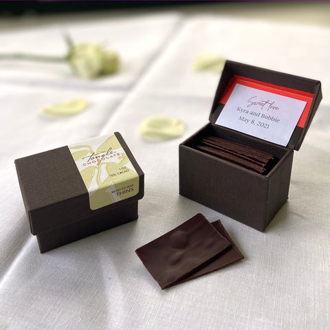 Tangle Chocolate gourmet dark chocolate Thins personalized wedding favors