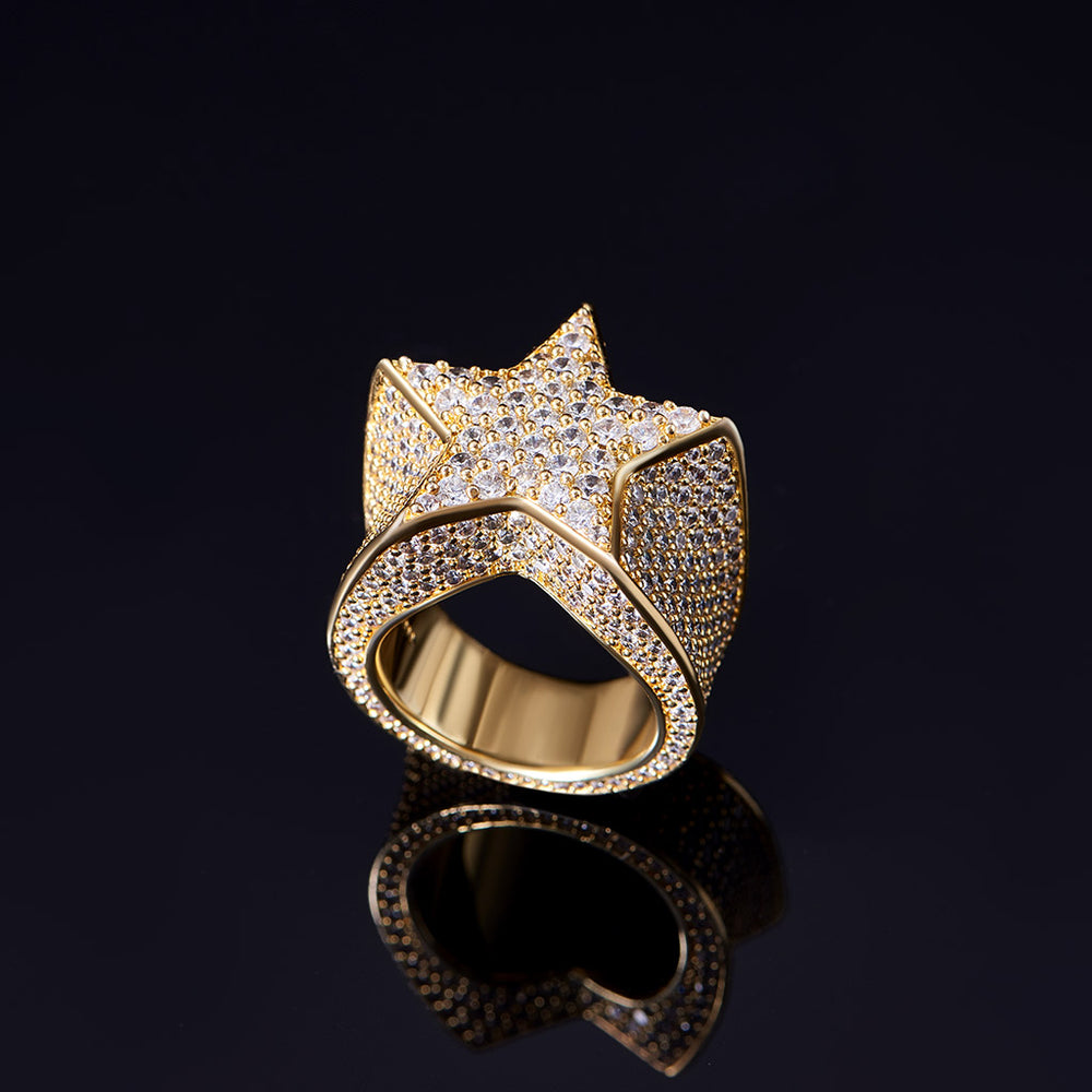 Aporro-14K Gold Iced Out Star Ring