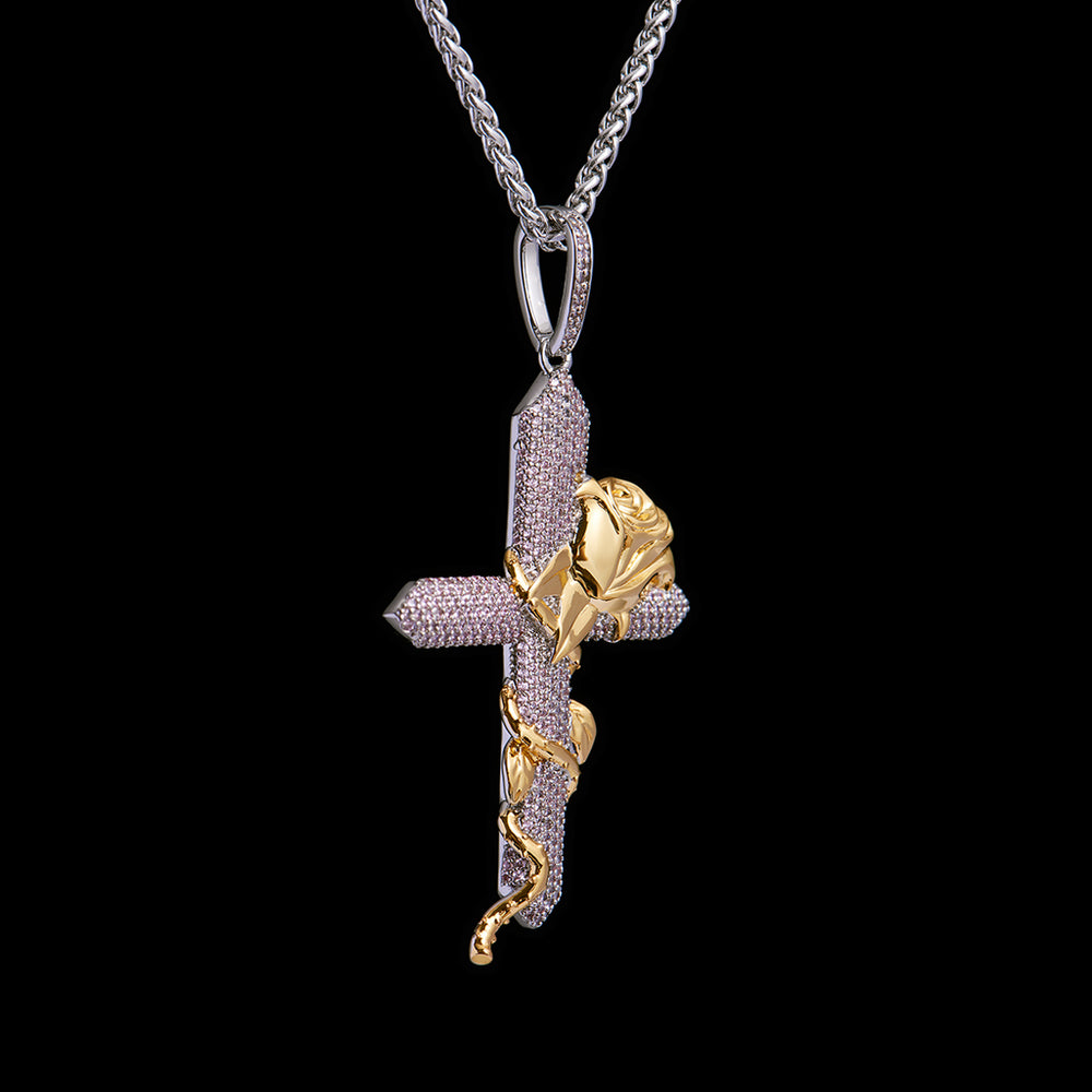 fashion  rose cross pendant-Aporro