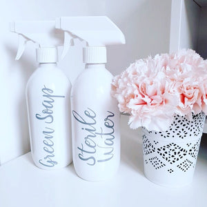Mrs Hinch Inspired Reusable White 500ml / 250 ml Pump / Spray Bottles - Toiletries, Shampoo, Conditioner, Body Wash