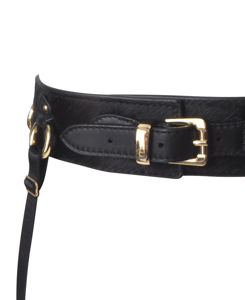 Pony Leather Bondage Suspender Belt