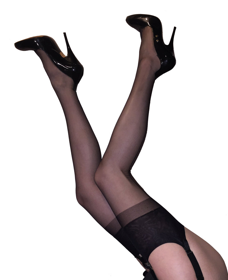 Seamed RHT Black Stockings