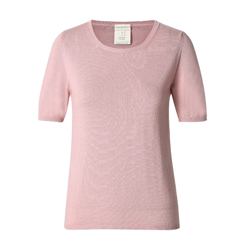 CHOCHENG, Vegan round neck short sleeve sweater, stretch jersey knit top, 100% Cotton, natural fabric