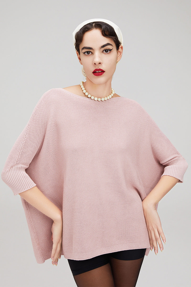CHOCHENG, Vegan round boat neck bat sleeve sweater, stretch knit top, 100% Cotton, natural fabric