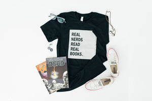 Real Nerds Read Real Books Relaxed Adult Tee