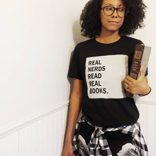 Load image into Gallery viewer, Real Nerds Read Real Books Relaxed Adult Tee