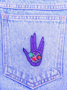 "Purple Live Long and Prosper 3"" Iron On Patch- Geeky Nerdy Star Trek Vulcan Spock Patch"