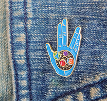 Load image into Gallery viewer, LLAP Enamel Pin | Star Trek BLUE Vulcan Hand | Live Long and Prosper Star Trek Geeky Gifts