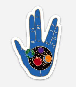 "Blue Live Long and Prosper Vinyl Sticker 2.02"" X 3"" - Geeky Nerdy Star Trek Vulcan Spock Sticker"