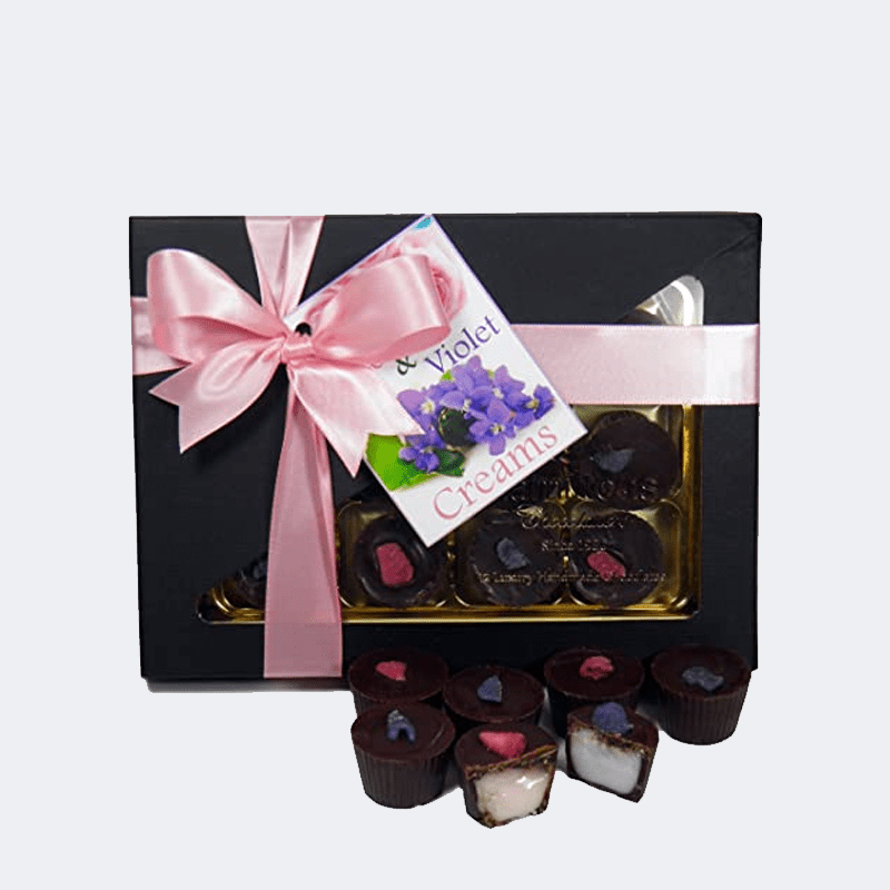 Rose and Violet chocolate creams