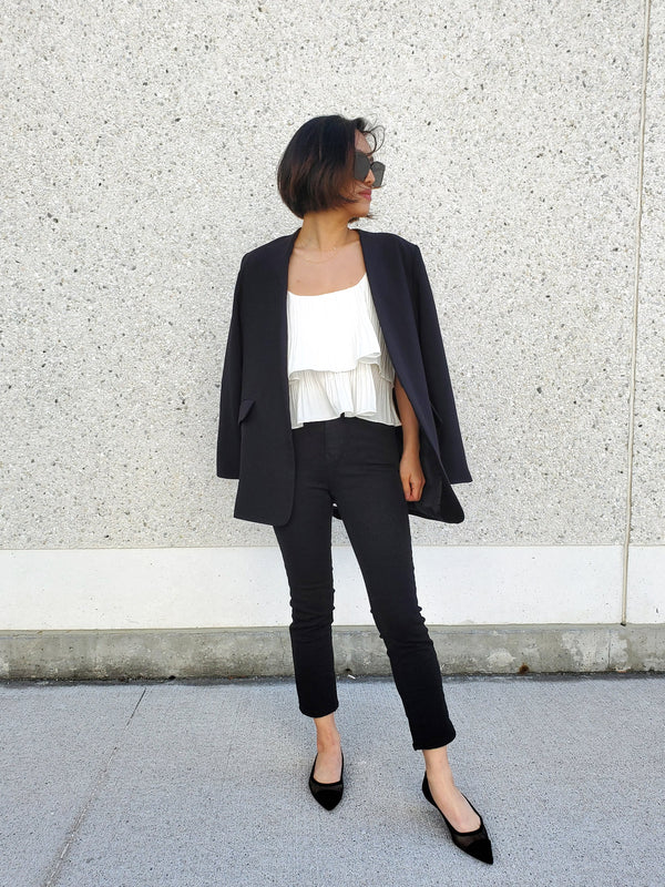 Belted Collarless Blazer