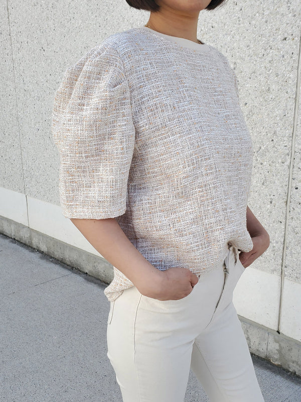 Tweed Puff Top